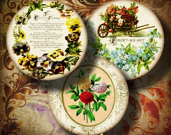 FLOWER POETRY - Circles 2.5 inch - 63mm for Pocket Mirror - Digital Collage Sheet - Buy 3 Get 1 Extra Free - Instant Download