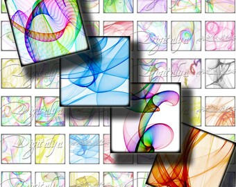 SILK, Silky Swirls of colors on White - Digital Collage Sheet -  Squares 1x1 or 0.875 or scrabble - Buy 3 Get 1 Extra Free