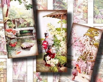 Japanese Flower Gardens (1) Digital Collage Sheet - 30 different Dominos 1x2 in. for resin pendant - see promo