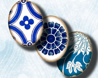 Asian Blue Porcelain (2) Digital Collage Sheet - Oval 30x40mm or 18x25mm or other sizes - Buy 3 Get 1 Extra Free