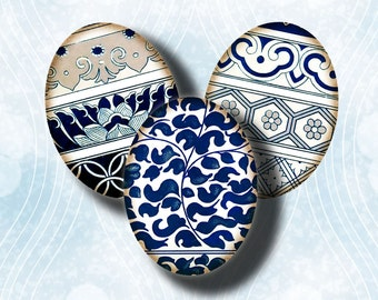 Digital Collage Sheet with Vintage Decorative Art from China - Asian Blue Porcelain (11) Oval motifs 63 Tiles 18x25mm - See Promo Offer
