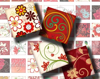 Shades of Red (1) Digital Collage Sheet - Squares 1 inch or 0.875 inch or scrabble 0.75x0.83 inch - See Promo Offer