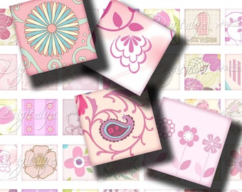 "Shades of Pink (1) Digital Collage Sheet - Square 1x1"" or 0.875"" or smaller for scrabble, resin pendant, magnet - see promo"