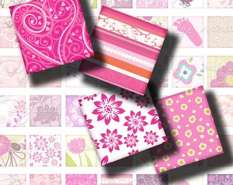 Shades of Pink (3) Digital Collage Sheet - A festival of trendy motifs - Squares 1 inch or 0.875 inch or scrabble - Buy 3 Get 1 Extra Free