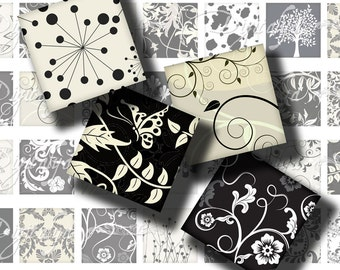 Shades of Black (2) Digital Collage Sheet - animal & foot print, floral swirls - 56 different Squares 1 inch or smaller