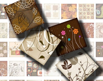 Shades of Brown (1) Digital Collage sheet with Animal prints, groovy flowers - 56 Squares 1x1 or smaller - Buy 3 Get 1 Extra Free