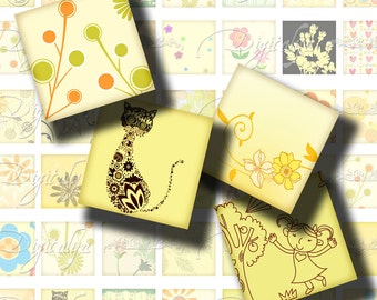 Shades of Yellow (3) Digital Collage Sheet - 56 Squares 1 inch or 0.875 inch or scrabble 0.75x0.83 inch - See Promo Offer