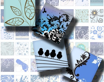 Shades of Blue (3) Digital Collage Sheet - 56 different Squares 1x1 or 0.875 or scrabble - Buy 3 Get 1 Extra Free