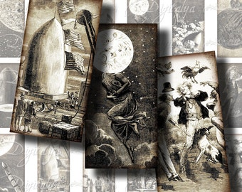 JULES VERNE, From the Earth To the Moon - Digital Collage Sheet -  Dominos 1x2 for jewelry - Buy 3 Get 1 Extra Free