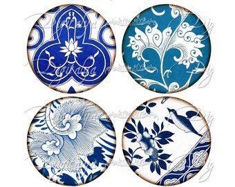 ASIAN BLUE PORCELAIN (7) Digital Collage Sheet - Indigo Lotus flowers from China for Pocket Mirror - Circles 2.5 inch - Instant Download
