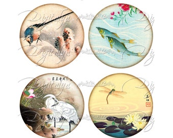 ASIAN FAUNA (1) Digital Collage Sheet - circles 2.5 inch - 63mm for pocket mirrors - Buy 3 Get 1 Extra Free - Instant Download