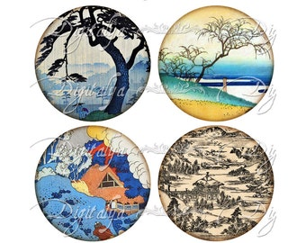 Digital Collage Sheet - JAPANESE LANDSCAPE (1) Sceneries from Ancient Japan Circles 63mm for Pocket Mirror - See Promo - Instant Download