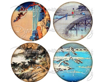 ANTIQUE ASIAN LANDSCAPE (3) Digital Collage Sheet - Circles 2.5 inch - 63mm for Pocket Mirror - Buy 3 Get 1 Extra Free - Instant Download