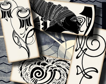 Black & Off White French Art Deco Motifs (8) Digital Collage Sheet - 30 Dominos 1x2 inch or Bamboo size - See Promo Offer
