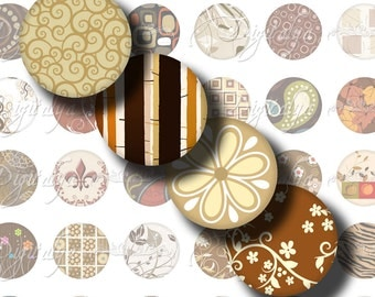Shades of Brown (1) Digital Collage Sheet - Circles 1inch - 25mm or smaller - Trendy tree, swirls, flowers, damask - See Promo Offer