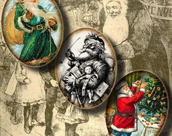 Santa Claus, Kris Kringle, Saint Nick - Digital Collage Sheet with Ovals 30x40mm or 18x25mm or other sizes - Buy 3 Get 1 Extra Free