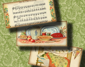 Twas The Night Before Christmas - Digital Collage Sheet - 30 Dominos 1x2 inch or bamboo size - Printable Download - Buy 3 Get 1 Extra Free