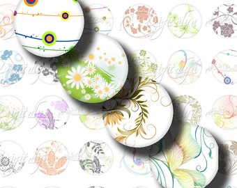 Shades Of White (4) Circles 1 inch - 25mm or any smaller size - Trendy Multicolor Designs - Digital Collage Sheet - Buy 3 Get 1 Extra Free