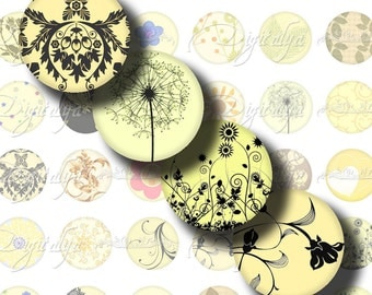 Shades of Yellow (1) Digital Collage Sheet - dandelions, butterflies, damask - 48 Circles 1inch - 25mm or smaller - Buy 3 Get 1 Extra Free