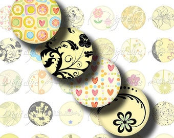 Shades Of Yellow (3) Digital Collage Sheet - Circles 1 inch - 25mm or smaller - Trendy Designs in Yellow - Buy 3 Get 1 Extra Free