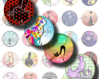 TRENDY KITTIES - Digital Collage Sheet - 30 Circles 1 inch - 25mm or smaller available with Fashionable Cute Cat - See Promo Offer