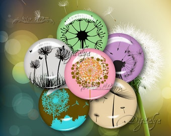 DANDY DANDELION - Digital Collage Sheet - Circles 1 inch 25 mm or any smaller size for jewelry, button, magnet - Buy 3 Get 1 Extra Free