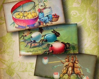Easter Bunnies (2) Digital Collage Sheet - Victorian Easter with rabbits - Horizontal Dominos 1x2 inch or smaller - Buy 3 Get 1 Extra Free