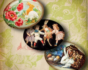 Victorian Easter Bunnies (1) Digital Collage Sheet - 30 different Horizontal Ovals 1.2x1.6 inch - 30x40mm or smaller size available