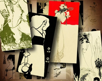 Aubrey Beardsley's Vintage Art Nouveau (2) Domino 1x2 inch or Bamboo size - 2 Digital Collage Sheets - Buy 3 Get 1 Extra Free