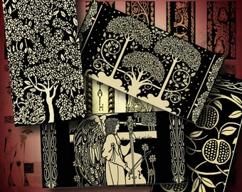 Monochrome Art of Aubrey Beardsley (3) Dominos 1x2 inch or Bamboo size 60 tiles - 2 Digital Collage Sheets - See Promo Offer