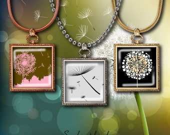 Dandelion - 48 Squares 1 inch or 0.875 inch or scrabble 0.75x0.83 inch for pendant, magnet - Digital Collage Sheet - Buy 3 Get 1 Extra Free