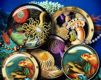 DEEP SEA EXPLORATION - 2 Digital Collage Sheets - Circles 1.5 inch - 38mm or smaller for jewelry, glass pendant - Buy 3 Get 1 Extra Free