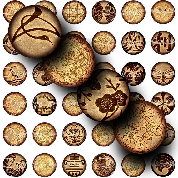 Japanese Crest Brown (1) Digital Collage Sheet - Circles 1inch - 25mm or smaller - Emblems from Asia - Buy 3 Get 1 Extra Free