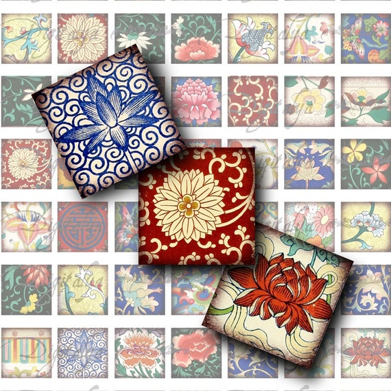 """Asian Ornament  (1) Digital Collage Sheet - Square 1x1"""" or 0.875"""" or Scrabble size for resin pendant - Buy 3 Get 1 Extra Free"""