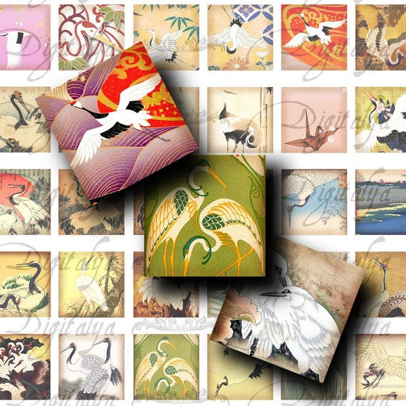 Cranes (1) Digital Collage Sheet - Modern & Traditional Japanese Cranes - Squares 1x1 inch or smaller  - Buy 3 Get 1 Extra Free