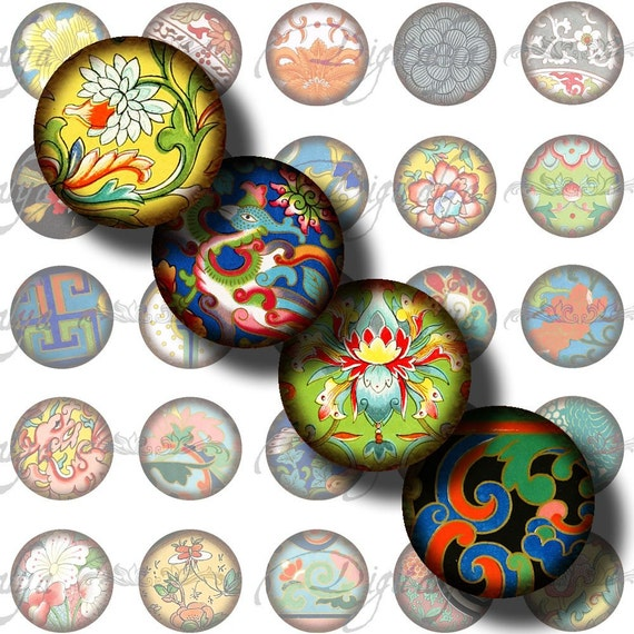 Asian Ornament (8) Digital Collage Sheet - Circles 1inch - 25mm or 12mm or any smaller sizes - Buy 3 Get 1 Extra Free