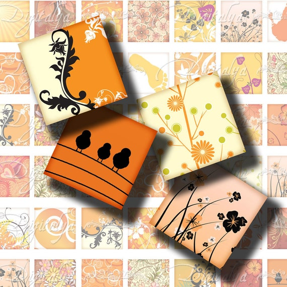 Shades of Orange (1) Digital Collage Sheet - Square 1 inch or 0.875 inch or scrabble - Printable Download - Buy 3 Get 1 Extra Free