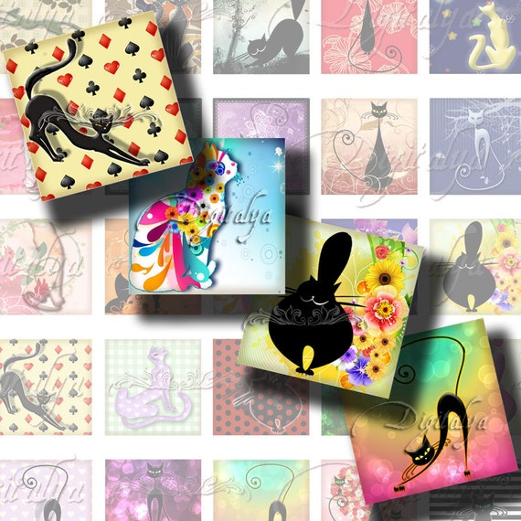 Trendy Kitties, Cute Modern Cats  à la mode - Digital Collage Sheet - Squares 1x1 or 0.875 or scrabble - Buy 3 Get 1 Extra Free