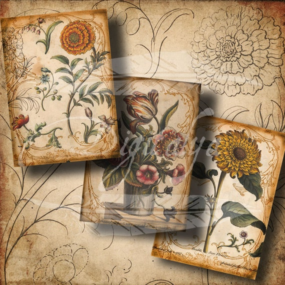ANTIQUE FLOWER SKETCHES - 2.5x3.5 inch for tags, atc, Scrapbook - Digital Collage Sheet - Instant Download - Buy 3 Get 1 Extra Free