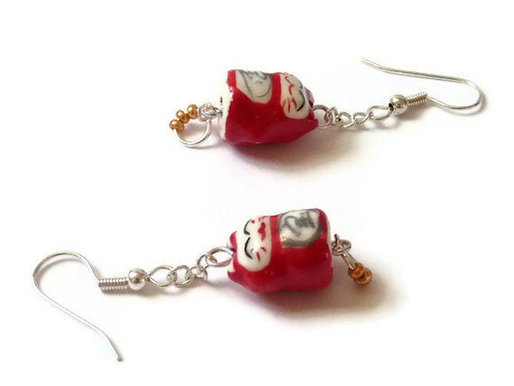 Red Chinese Cat Earrings