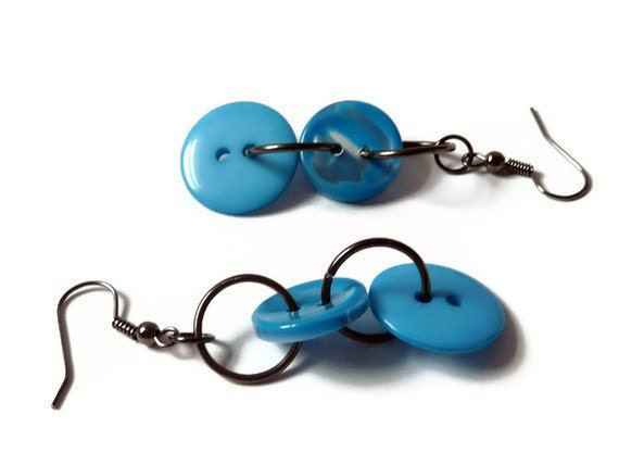 Blue Button Earrings Black Gunmetal