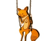 Fox on a Swing Necklace - Laser Cut