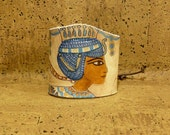 Hand Painted Leather Cuff Bracelet: Little Egypt