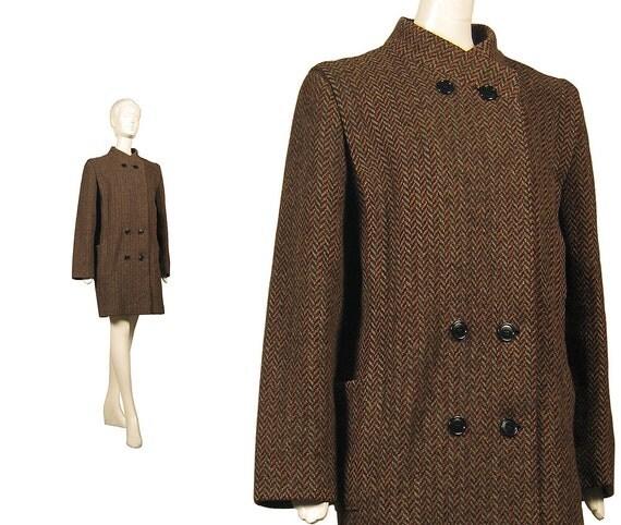 Vintage COAT 80s multi color TWEED herringbone wool weave, 1980s grey brown umber PEACOAT double-breasted