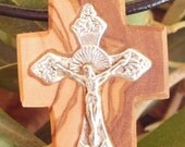 Hand carved Greek Olive Wood small cross pendant inlaid with Tibetan silver crucifix