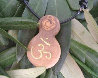 Aum olive wood necklace