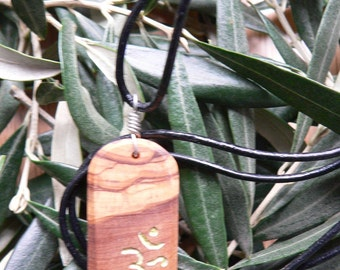 Olive Wood necklace with carved Aum-OM symbol