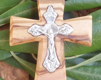 Hand carved Greek Olive Wood cross pendant inlaid with Tibetan silver crucifix