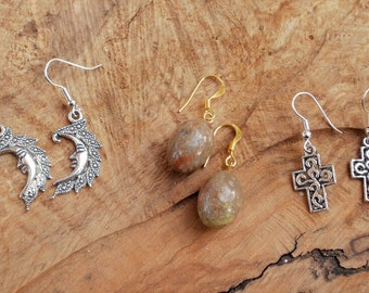 Special offer earring gift set Tibetan silver, ukanite gemstone