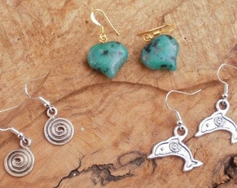 Special offer earring gift set, two sets of Tibetan silver earrings and one set of Chrysocolla heart gemstone earrings